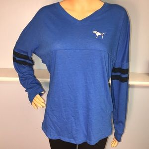 Pink women's blue long sleeve with silver sequin